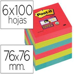 Bloc de notas adhesivas quita y pon post-it super sticky 76x76 mm con 6 bloc 2 rojos verde neon azul
