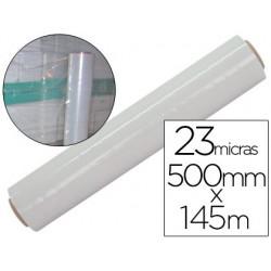 Film extensible manual bobina -ancho 500 mm. -largo 145 mt espesor 23 micras transparente