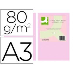 Papel color q-connect din a3 80 gr rosa paquete de 500 hojas