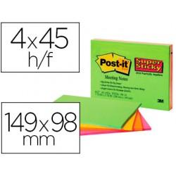 Bloc de notas adhesivas quita y pon post-it super sticky 149x98 mm con 45 hojas pack de 4 unidades colores neon