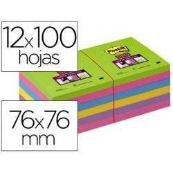 Bloc de notas adhesivas quita y pon post-it super stick ultra 76x76 mm pack de 12 bloc verde rosa amarilla