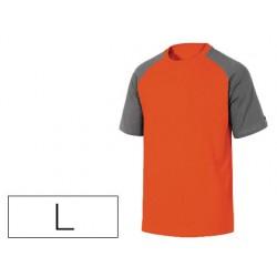 Camiseta de algodon deltaplus color gris naranja talla l