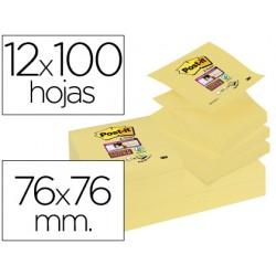 Bloc de notas adhesivas quita y pon post-it super sticky 76x76 mm zigzag con 12 bloc amarillo canario