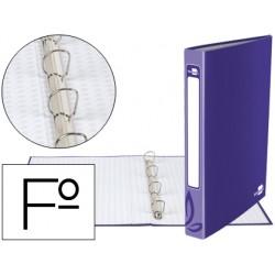 Carpeta de 4 anillas 25mm redondas liderpapel folio carton forrado violeta