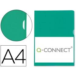 Carpeta dossier uñero plastico q-connect din a4 120 micras verde caja de 100 unidades