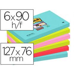 Bloc de notas adhesivas quita y pon post-it super sticky 76x127 mm con 90 hojas pack de 6 unidades colores miami