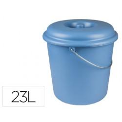 Cubo de basura domestico con tapa 23 litros para bolsas 55x60cm azul