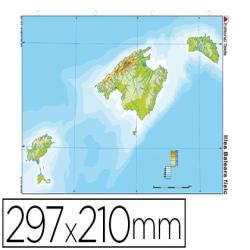 Mapa mudo color din a4 islas baleares fisico
