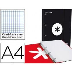 Carpeta con recambio y solapa liderpapel antartik a4 cuadro 5 mm forrada 4 anillas redondas 40mm color negra