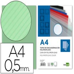 Tapa encuadernacion liderpapel polipropileno rayado a4 0.5mm verde paquete de 100 unidades