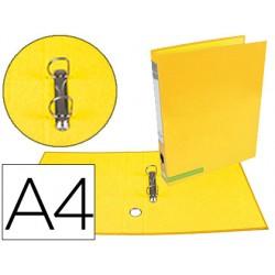 Carpeta de 2 anillas 25 mm mixtas liderpapel a4 forrado color system con ollado y tarjetero amarillo