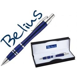 Boligrafo belius kassel azul con detalles plateados en estuche