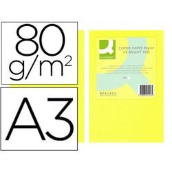 Papel color q-connect din a3 80gr amarillo neon paquete de 500 hojas