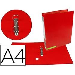 Carpeta de 2 anillas 25 mm mixtas liderpapel a4 forrado color system con ollado y tarjetero rojo