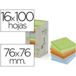 Bloc de notas adhesivas quita y pon post-it 76x76mm en torrerecicladas pack de 16 blocs 654 colores pastel