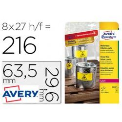 Etiqueta adhesiva avery poliester amarillo fluorescente 63,5x29,6 mm pack de 8 unidades