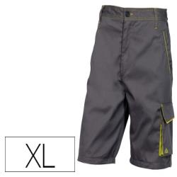 Pantalon de trabajo deltaplus bermuda cintura ajustable 5 bolsillos color gris verde talla xl