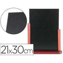 Pizarra negra liderpapel doble cara de madera con superficie para rotuladores tipo tiza 21x30cm