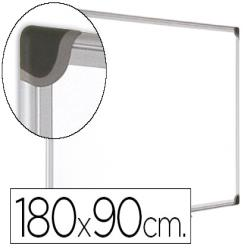 Pizarra blanca bi-office magnetica maya w ceramica vitrificada marco de aluminio 180 x 90 cm con bandeja para