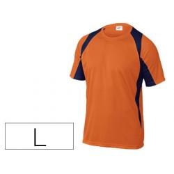 Camiseta deltaplus poliester manga corta cuello redondo tratamiento secado rapido color naranja-marino talla l