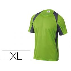 Camiseta deltaplus poliester manga corta cuello redondo tratamiento secado rapido color verde-gris talla xl