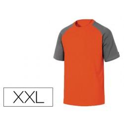 Camiseta de algodon deltaplus color gris naranja talla xxl