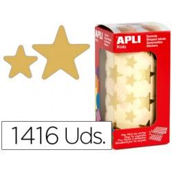 Gomets autoadhesivos estrellas grandes oro en rollo con 1416 unidades