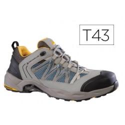 Zapatos de seguridad deltaplus trek de piel serraje puntera y suela composite gris talla 43