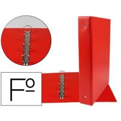 Carpeta liderpapel 4 anillas 40 mm redondas plastico folio color rojo