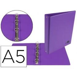 Carpeta de 4 anillas 25 mm redondas liderpapel a5 carton forrado pvc violeta