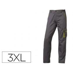 Pantalon de trabajo deltaplus cintura ajustable 5 bolsillos color gris verde talla 3xl