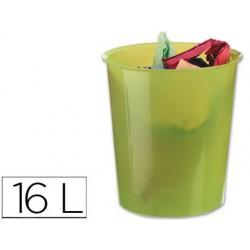 Papelera plastico q-connect verde translucido 16 litros