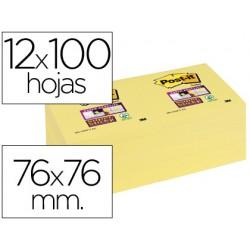 Bloc de notas adhesivas quita y pon post-it super sticky 76x76 mm con 12 bloc amarillo canario