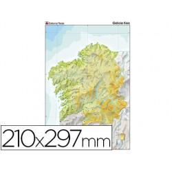 Mapa mudo color din a4 galicia fisico