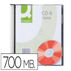 Cd-r q-connect capacidad 700mb duracion 80min velocidad 52x caja slim