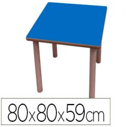Mesa madera mobetuc t3 cuadrada con tapa laminada haya 80x80 cm