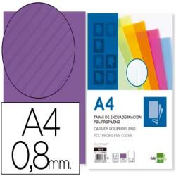 Tapa encuadernacion liderpapel polipropileno ondulado a4 0.8 mm violeta paquete de 50 unidades