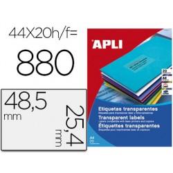 Etiqueta adhesiva apli transparente 48,5x25,4 mm fotocopia laser inkjet caja 20 hojas din a4 con 880