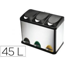 Papelera contenedor q-connect metalica con tapadera de plastico y pedal 3 depositos 45l 605x340x485 mm