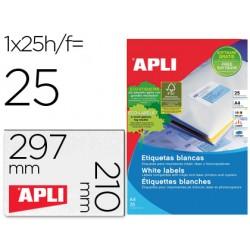 Etiqueta adhesiva apli 1215 tamaño 210x297 mm para fotocopiadora laser ink-jet caja con 25 hojas con 25