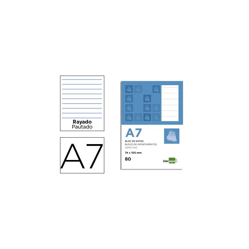 Bloc notas liderpapel horizontal a7 80 hojas 60g/m2 perforado