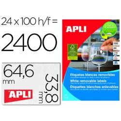 Etiqueta adhesivas apli 3056 tamaño 64,6 x 33,8 mm para fotocopiadora laser ink-jet caja con 100 hojas a-4 removi.