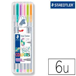 Rotulador staedtler triplus fineliner my pastel estuche de 6 unidades colores surtidos