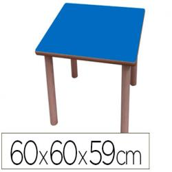 Mesa madera mobetuc t3 cuadrada con tapa laminada haya 60x60 cm