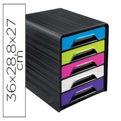 Fichero cajones de sobremesa cep 5 cajones negro/multicolor flashy 360x288x270 mm