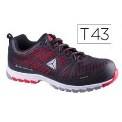 Zapatos de seguridad deltaplus de poliuretano y malla aireada s1p negro y rojo talla 43