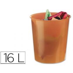 Papelera plastico q-connect naranja translucido 16 litros