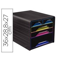 Fichero cajones de sobremesa cep 5 cajones mixtos negro/multicolor 360x288x270 mm