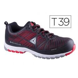 Zapatos de seguridad deltaplus de poliuretano y malla aireada s1p negro y rojo talla 39