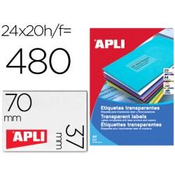 Etiqueta adhesiva apli 1224 transparentes tamaño 70x37 mm para fotocopiadora laser caja 20 hojas con 480 etiquetas